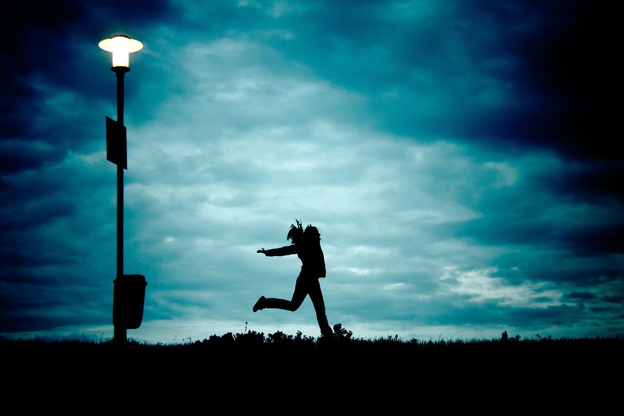 girl, at night, running